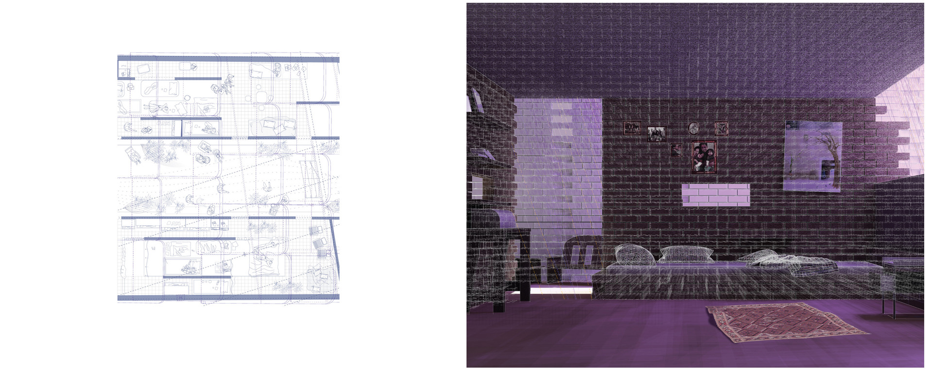 Resting areas, collective bedroom spaces.