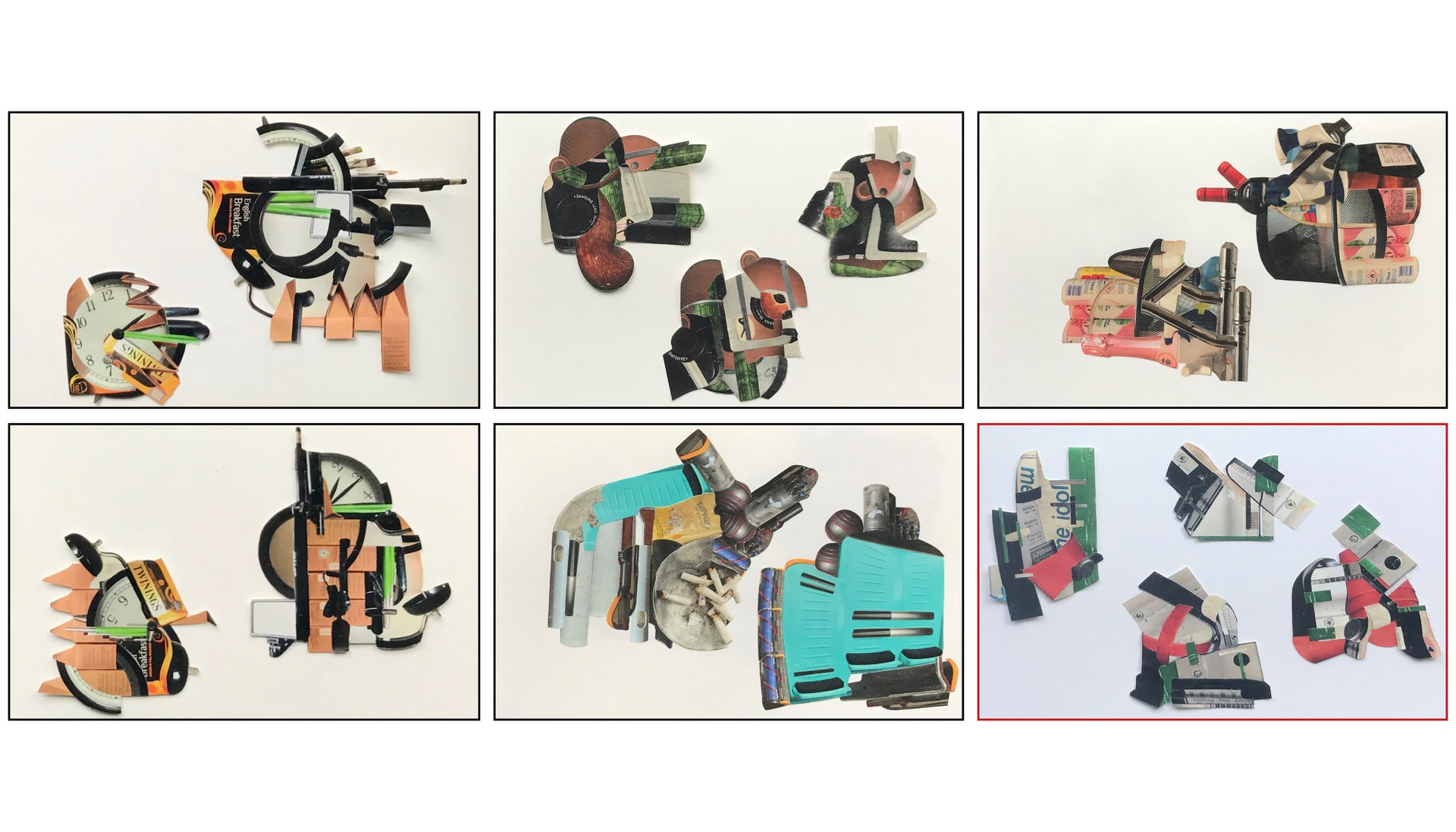 Collection of Collages based on Friends and Families Objects of Comfort and Discomfort.