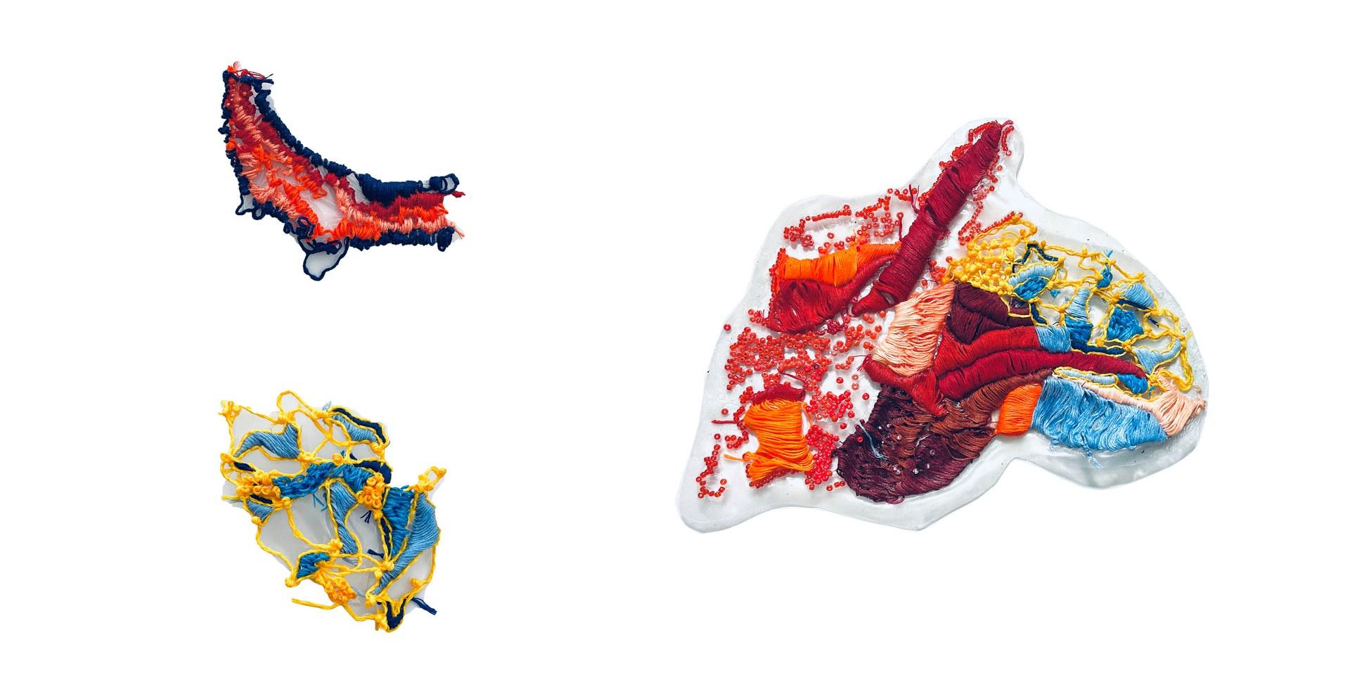 Bio-plastic embroidery samples