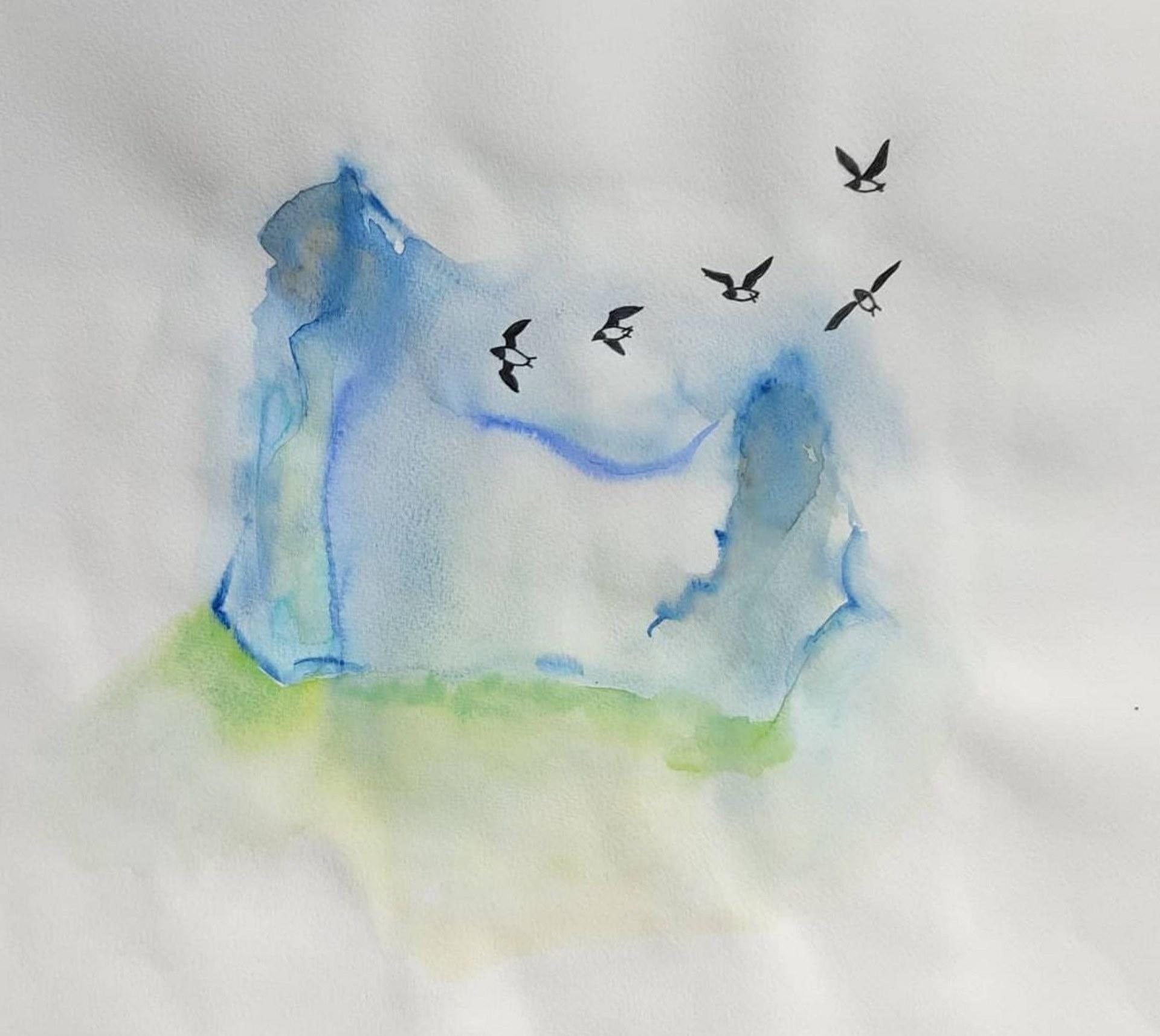 Iceberg with Sea kings. 42 x 29 cm.