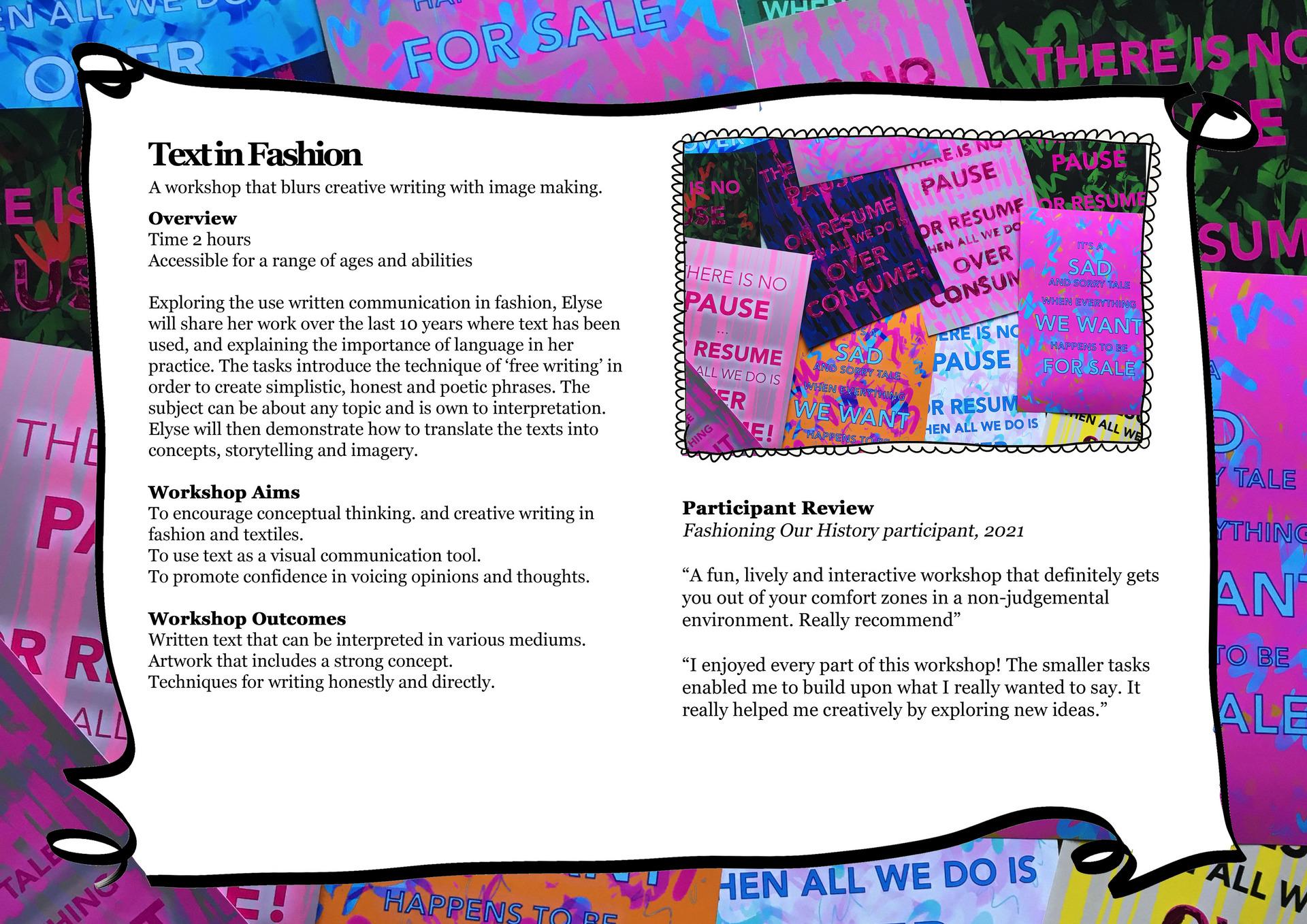 Text in Fashion Workshop