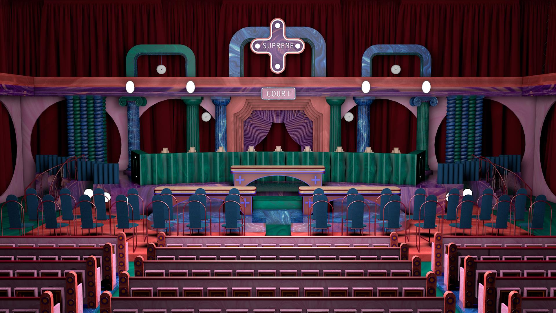 Supreme court pop stage set