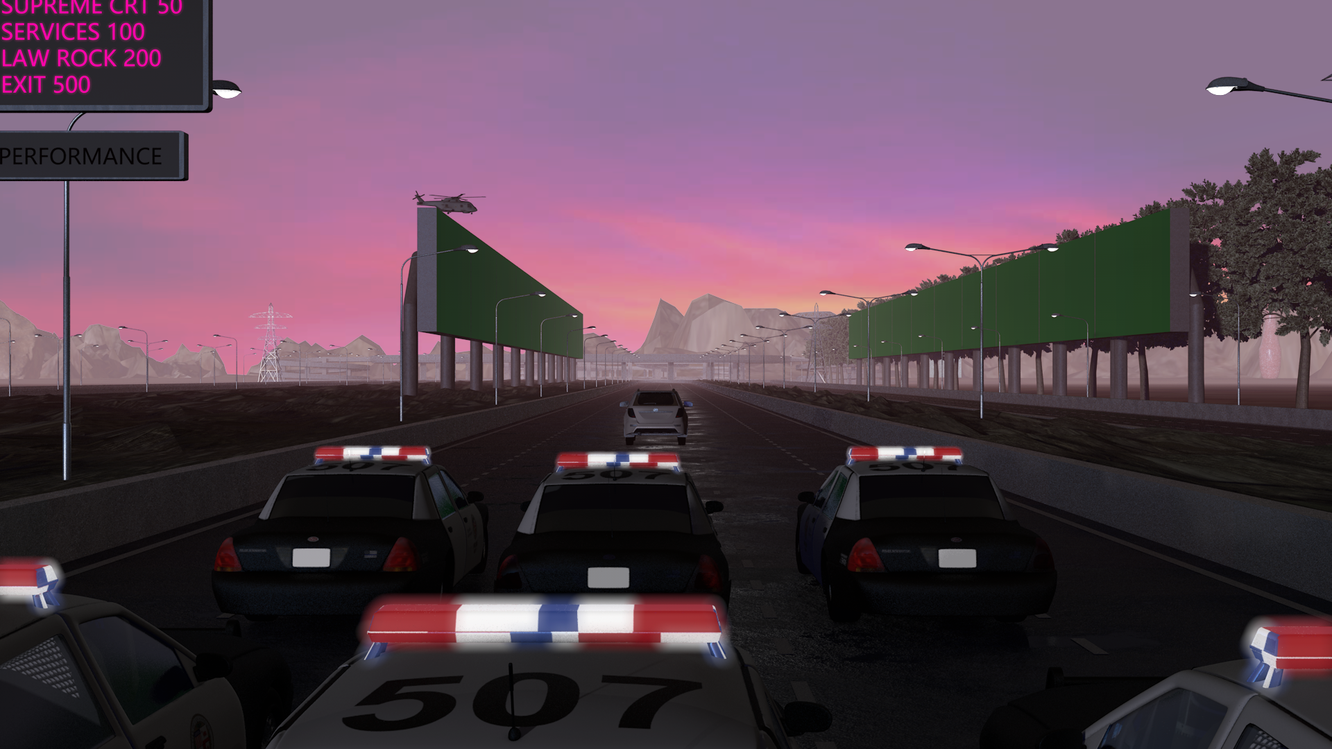 Performing the OJ car chase at sunset