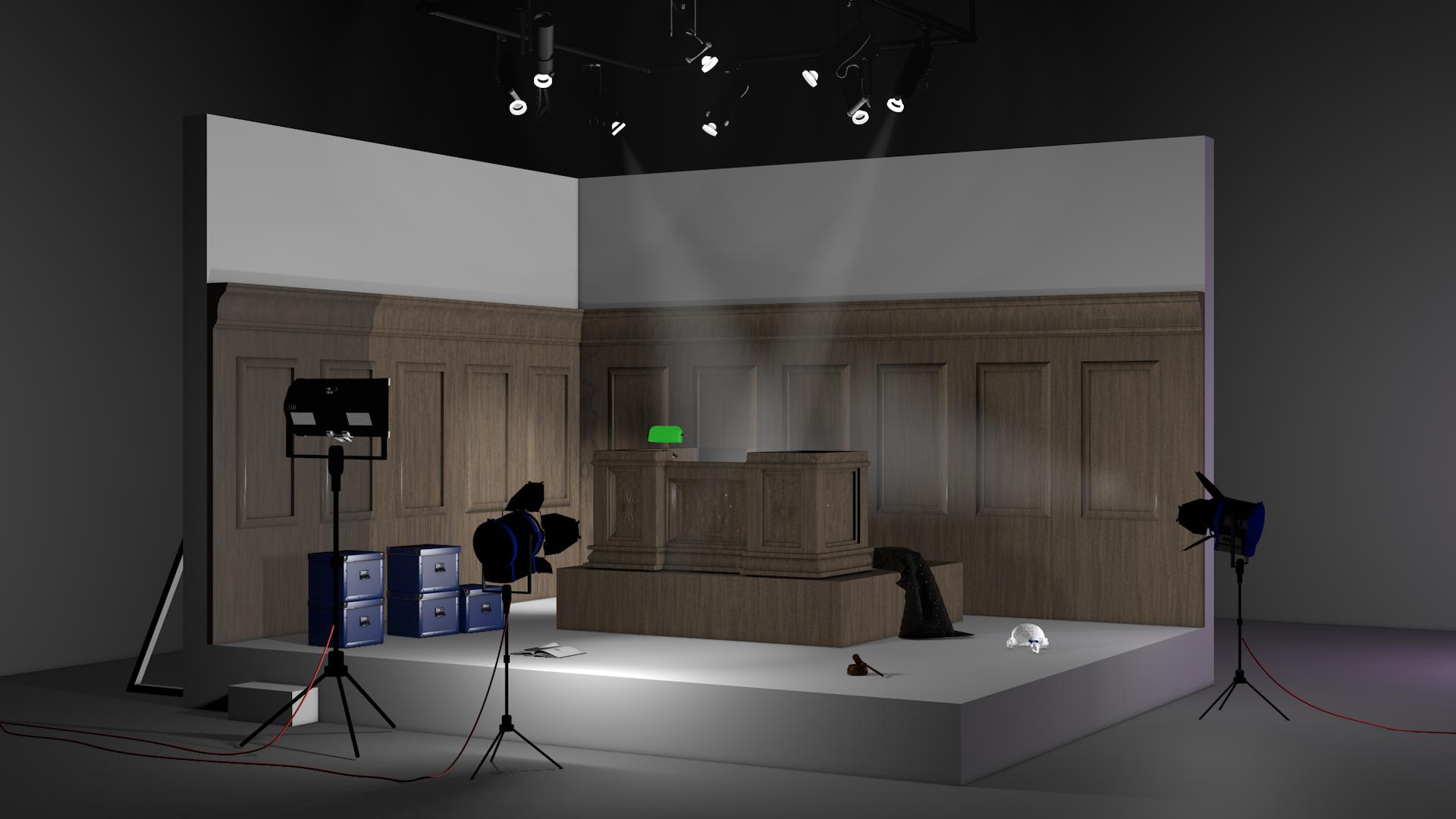 Set of a UK courtroom