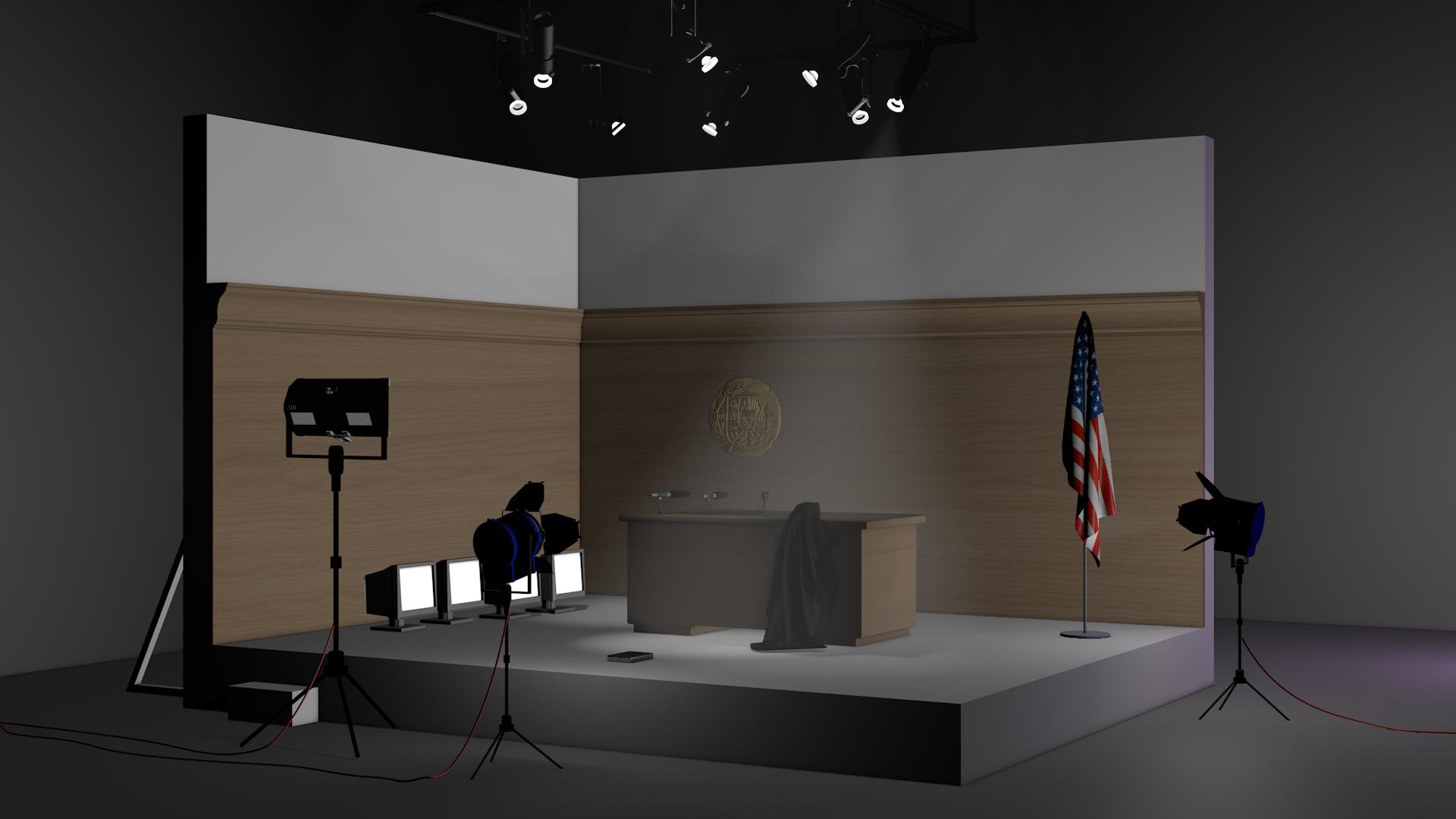Set of a US courtroom