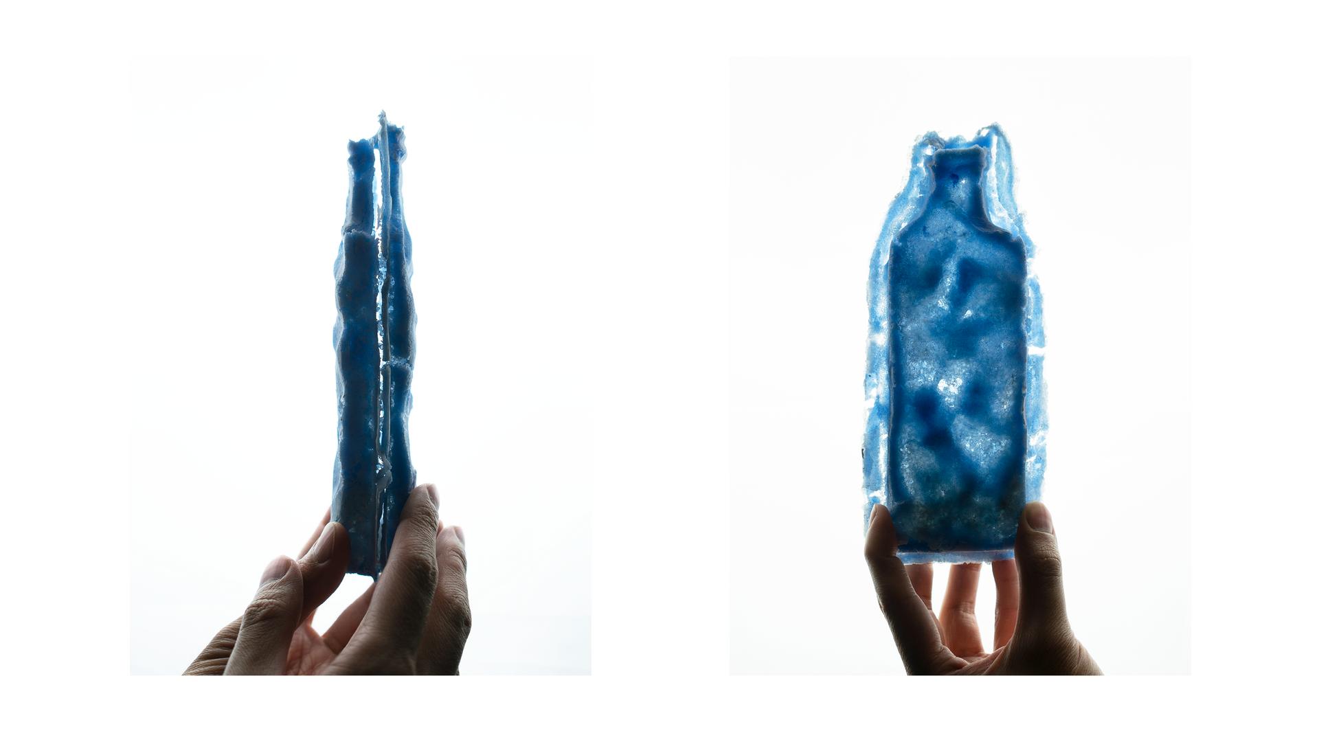 Blue VI, Pate de Verre, 20 x 8.5 x 3.5 cm