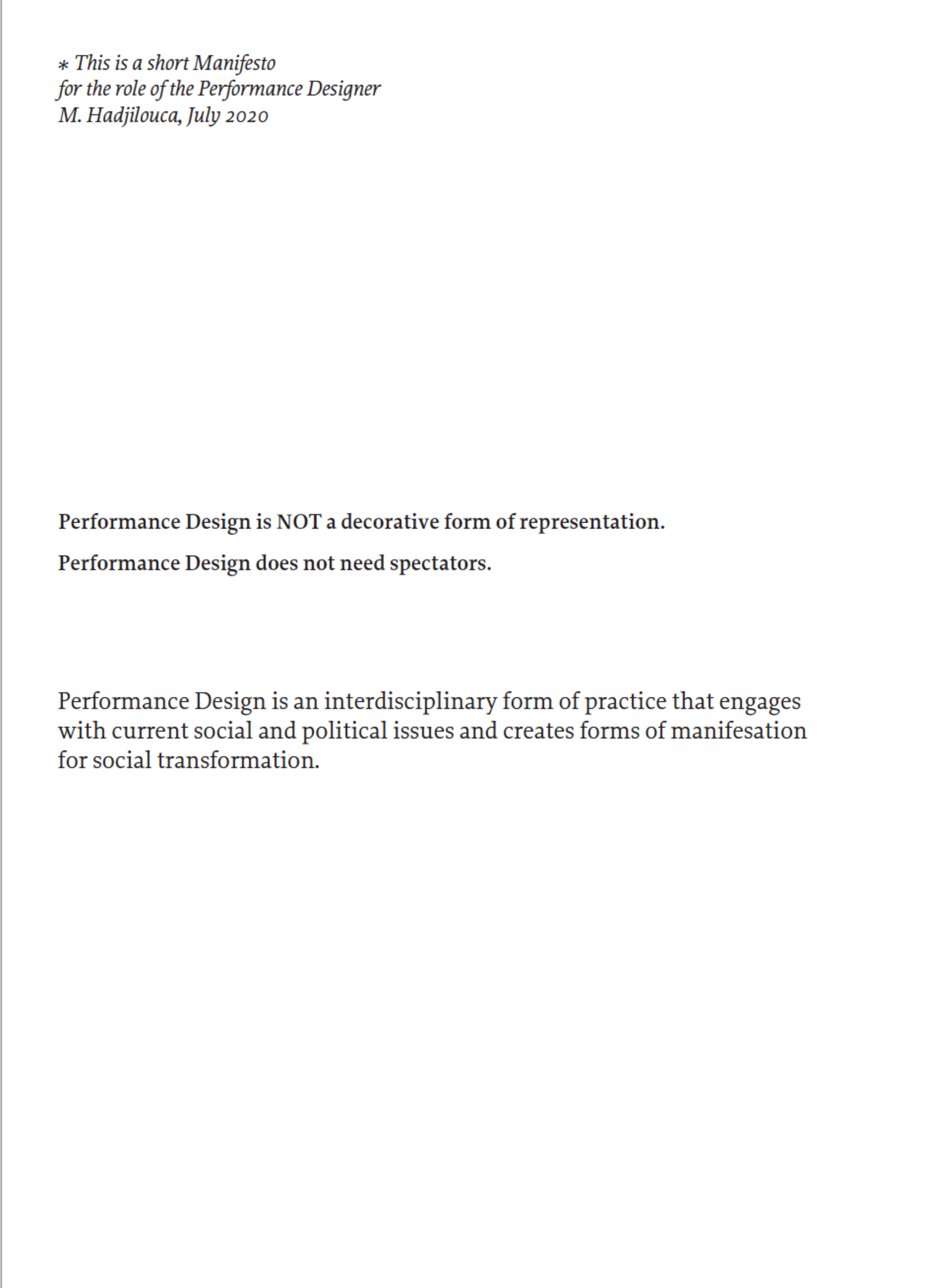 The Manifesto for the role of the Performance Designer