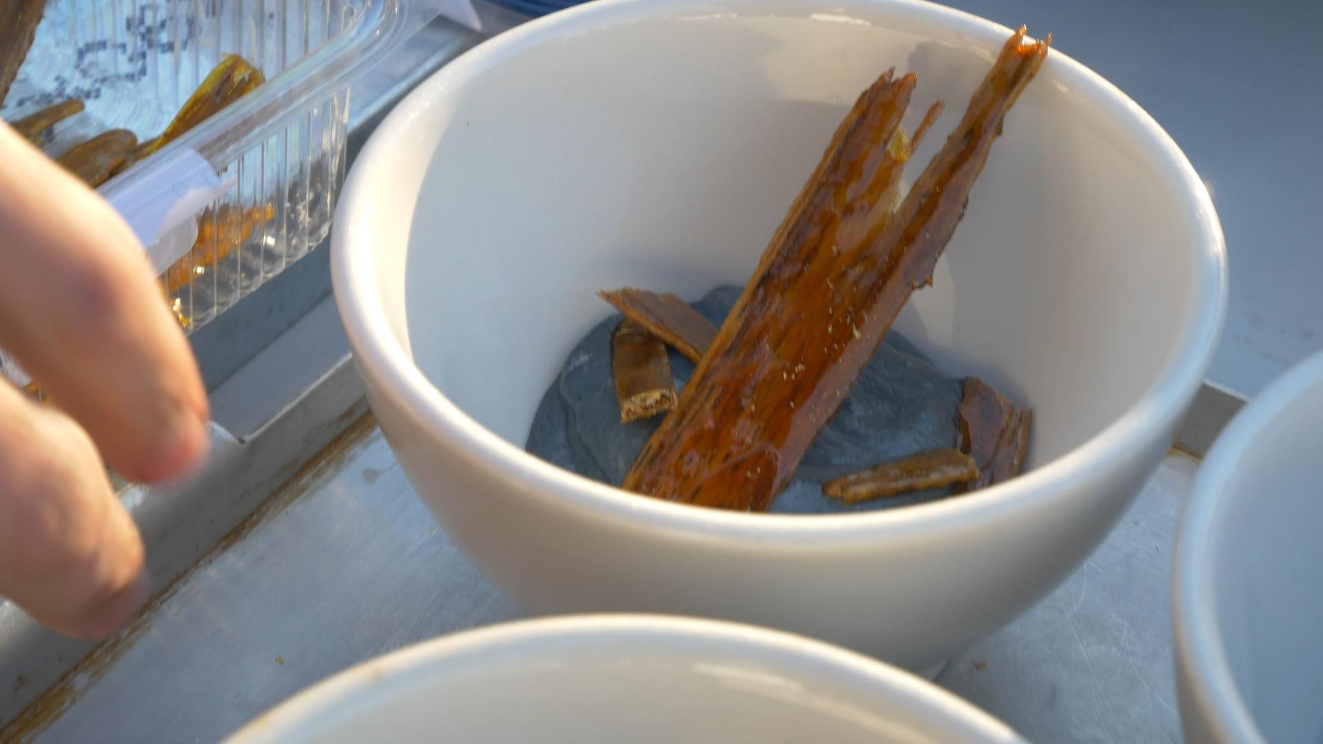 Wafer - Coal custard with caramelised wood wafer