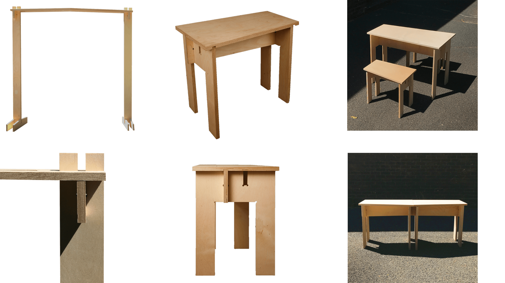 Tables, fixture-free joints and wooden frame prototypes. *Images by Daniel Johns