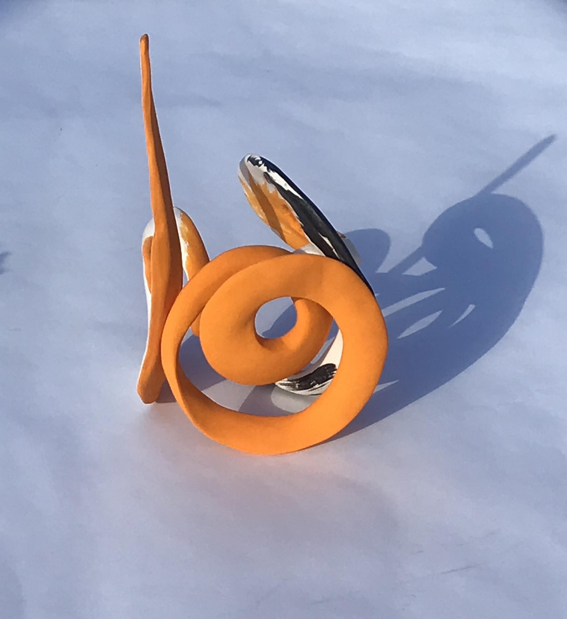 'Orange Twist' Small 15cm3. porcelain