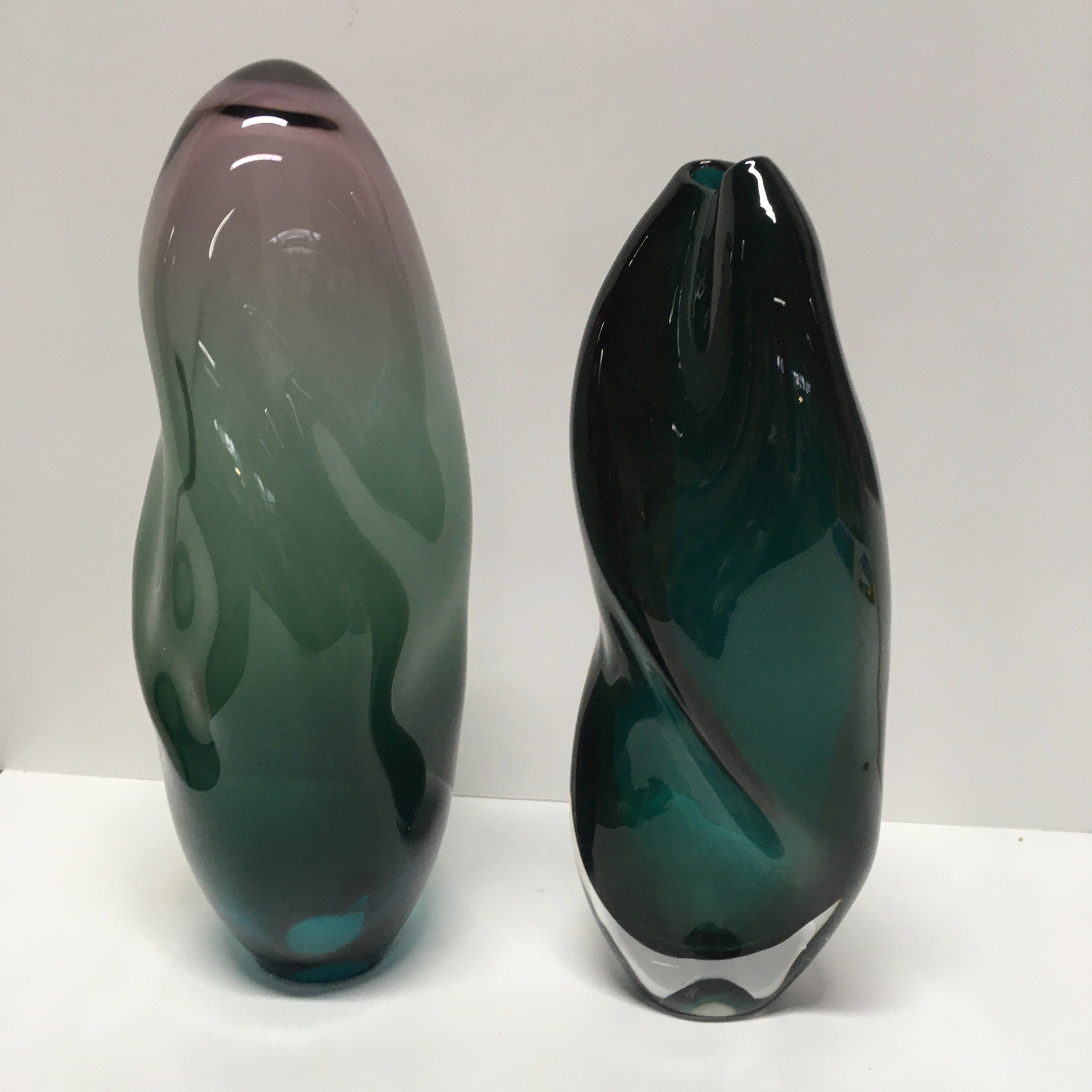 'Purple/Green Lift' 34cm & 'Green Twist Vase' 32cm