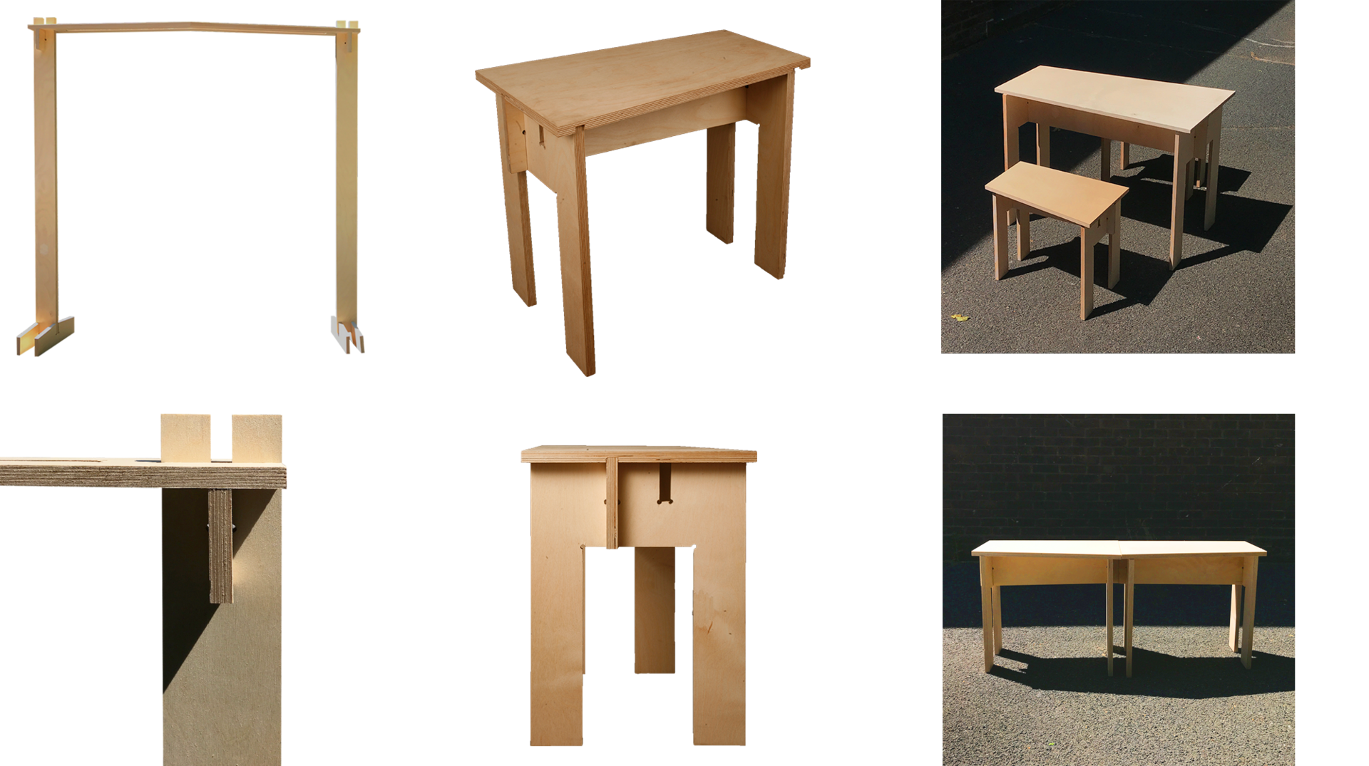 Tables and wooden frame