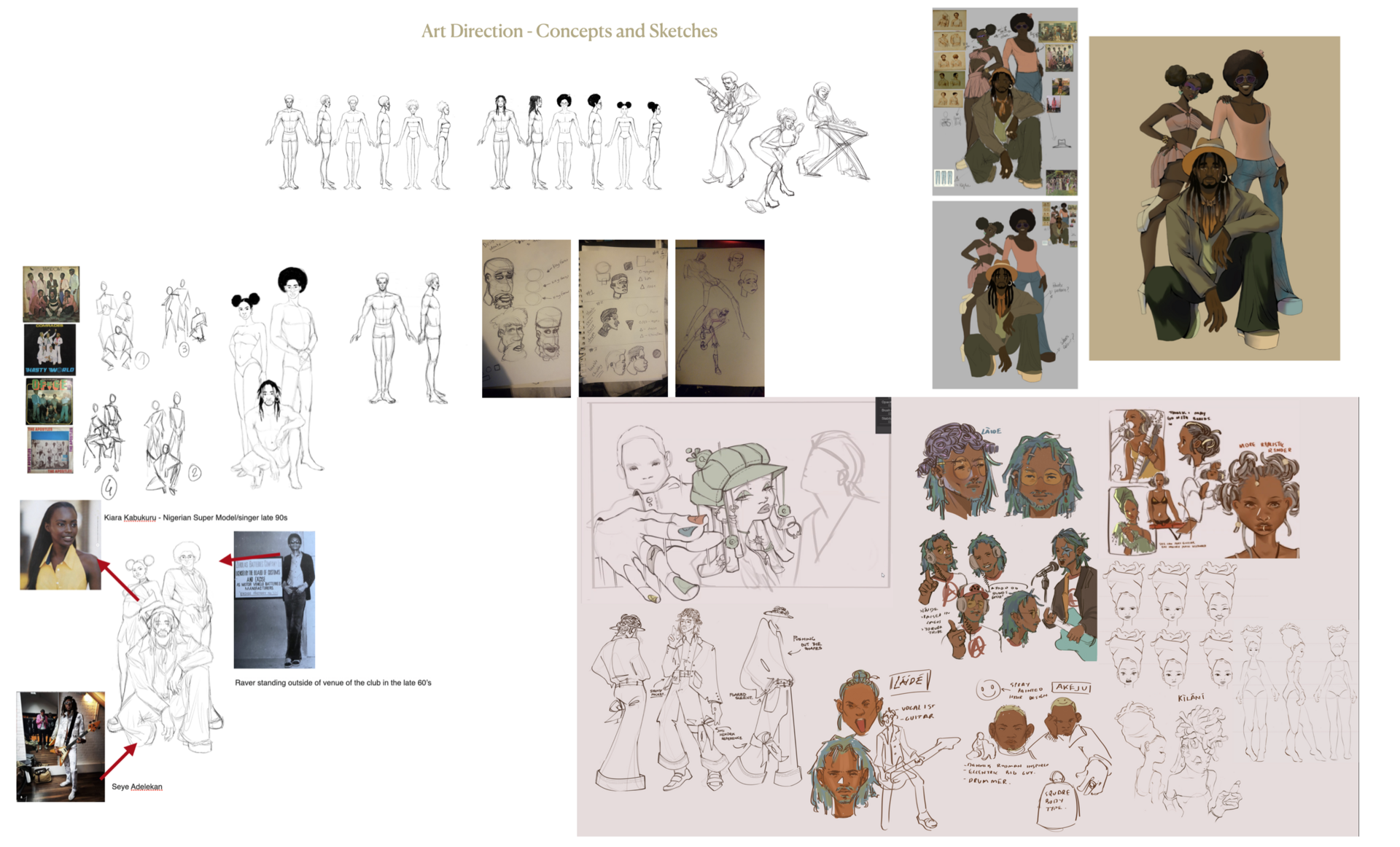 Sketches and Concepts of the band characters