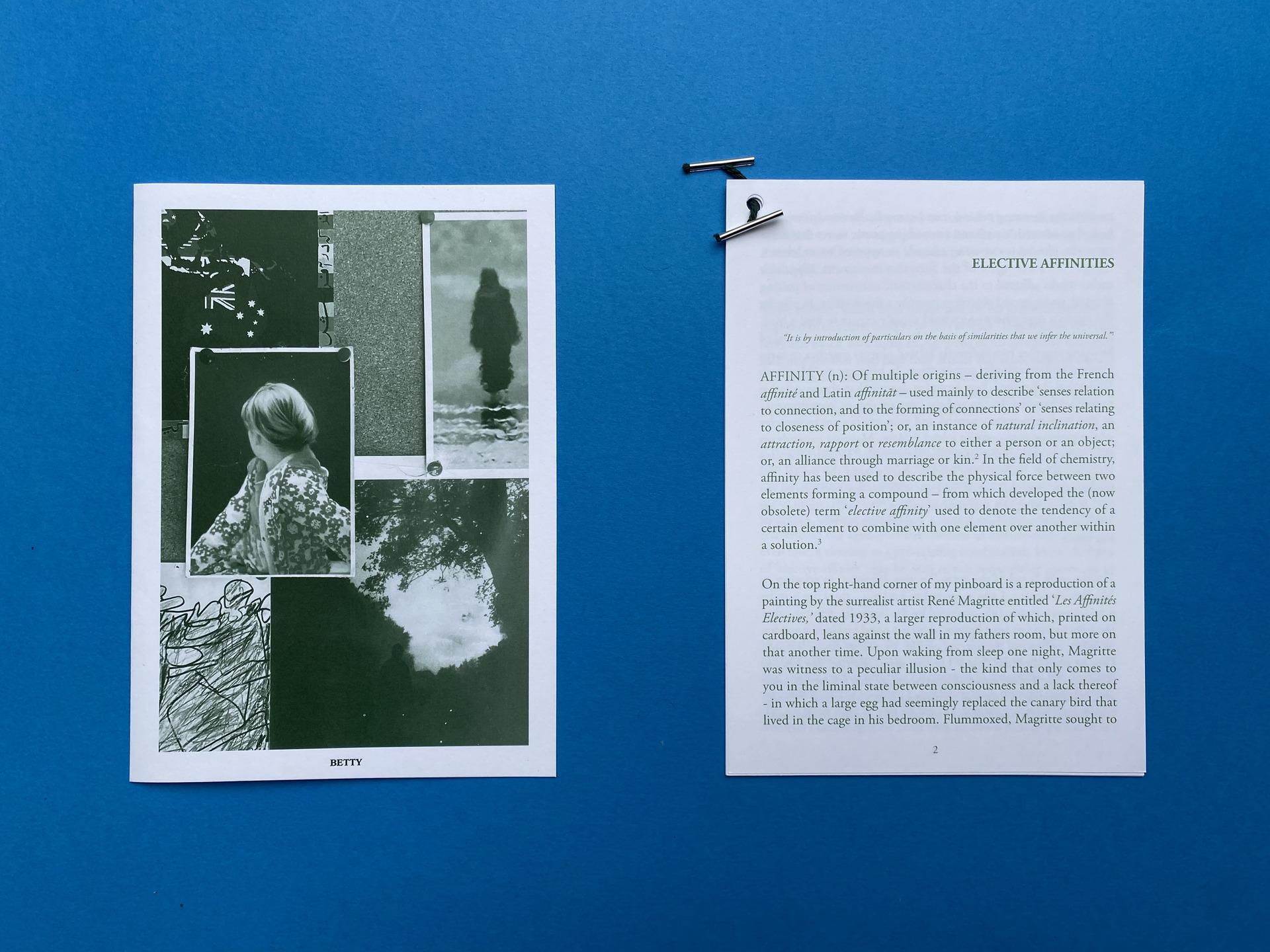 Text: Betty / Text: Elective Affinities / Postcard on pinboard: 'Betty', Gerhard Richter, 1988.