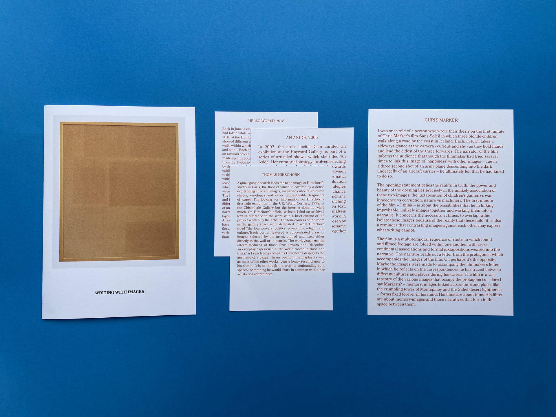 Text: Writing With Images / Notecards / Text: Chris Marker