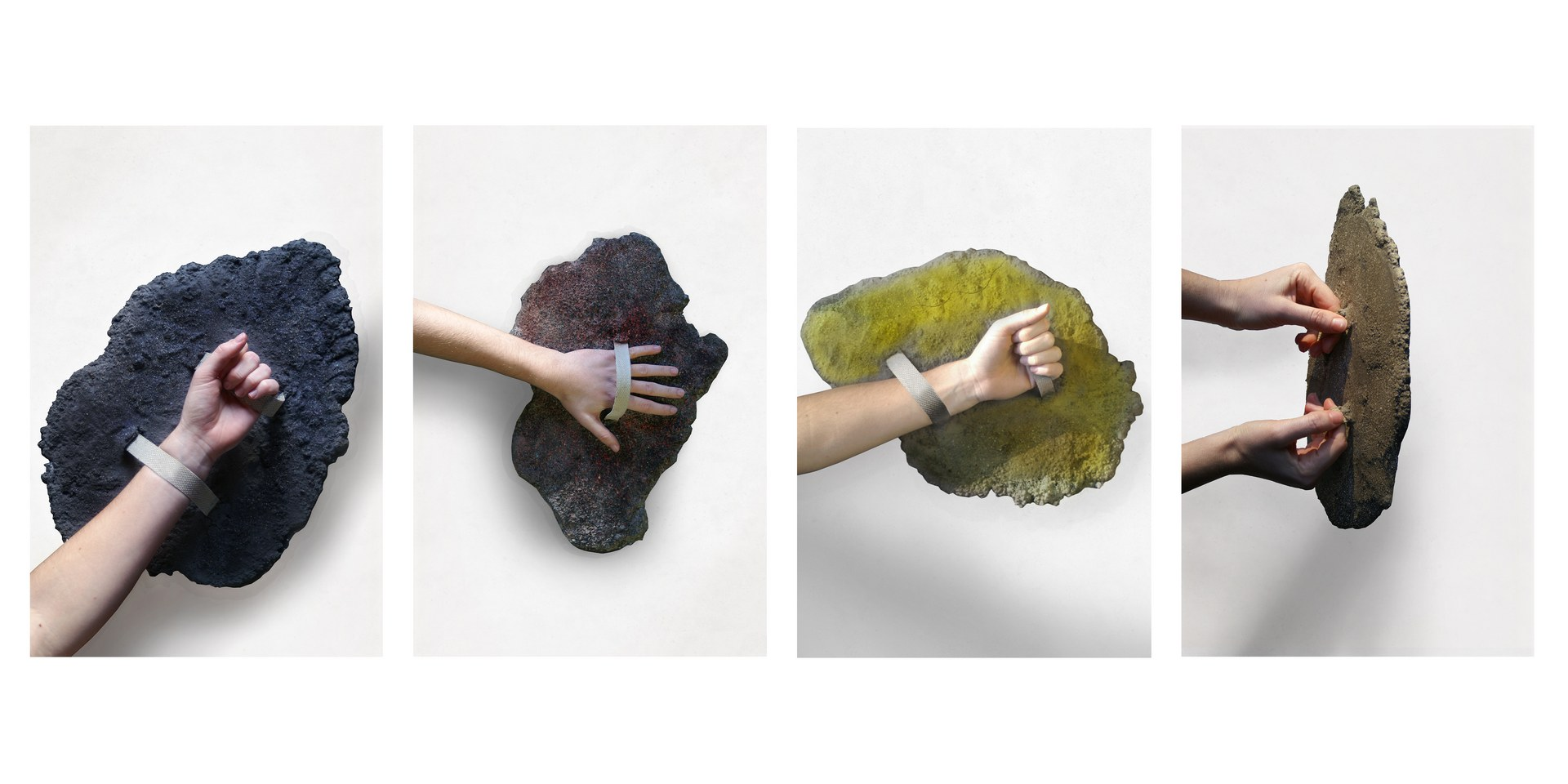 Volcanic Defence: wood ash, volcanic basalt, cement, ribbon, 2021