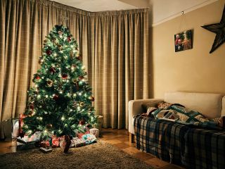 Little girl laying on a sofa with a Christmas tree lit up