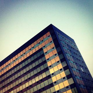 A large towerblock at an angle