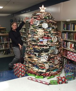 A creative upcycling endeavor. Faculty and students worked together to turn outdated books into a festive literary holiday book tree.