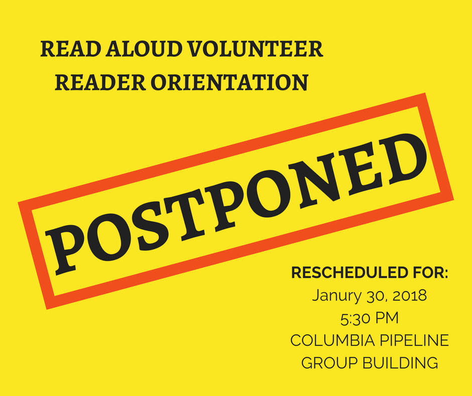 Kanawha County Volunteer Reader Orientation Postponed