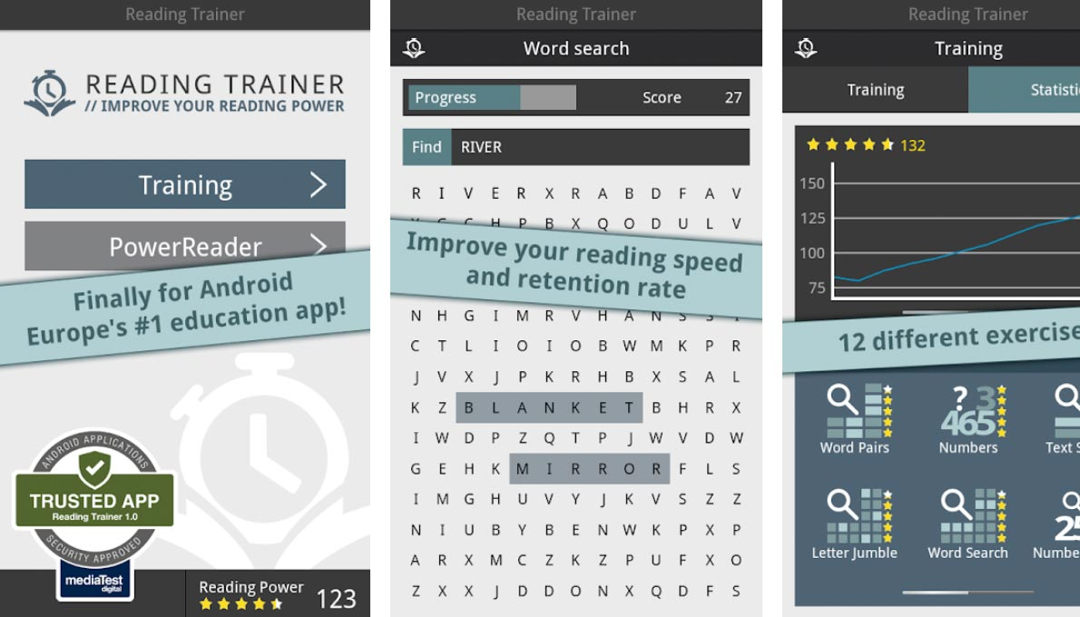 Readingtrainer Android, Google Play app