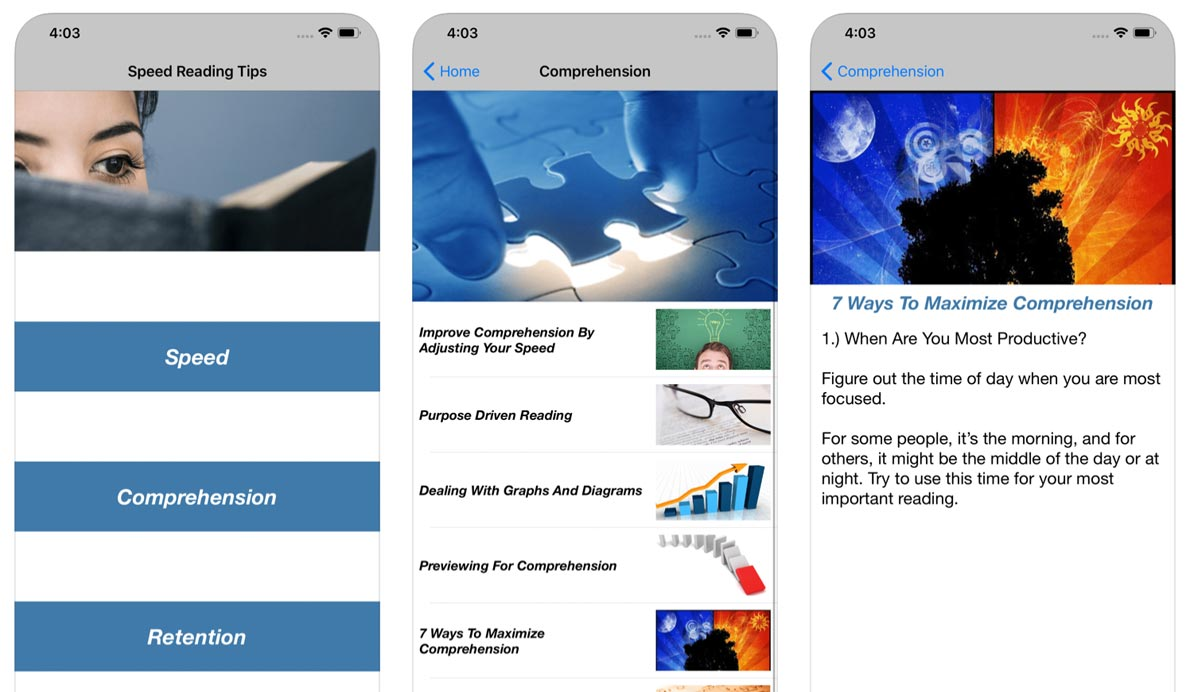 Speedreading Android, Google Play app