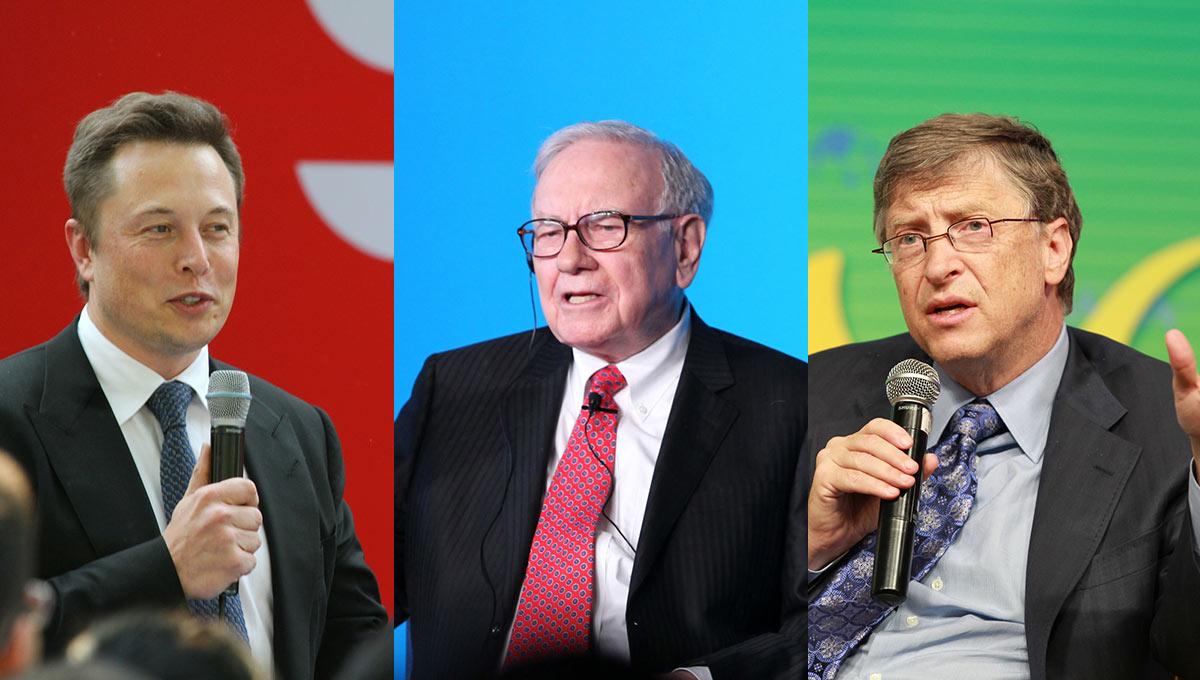 Reading. Bill Gates, Warren Buffett, and Elon Musk
