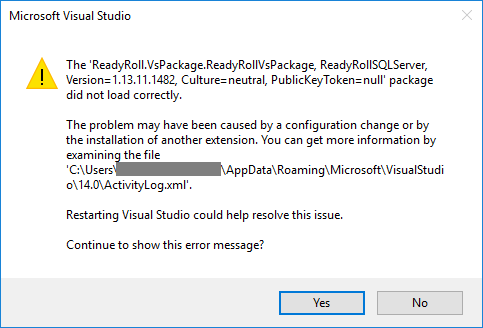 Visual Studio error: Package did not load correctly