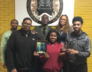 Oprep Knight Riders: Shawntae Thompson, Leandre Gant, Terrell Owens, Daylen Bright; and Mentors: Kelvin Martin and Quinton Myers; and Principal Senta Ray-Conley.