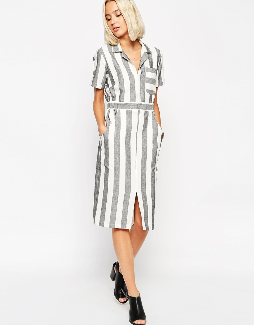 TALL Shirt Dress in Natural Fibre Stripe $82 @ ASOS.com
