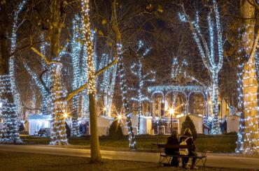 Zagreb's park Zrinjevac gets decorated in Christmas lights and hosts a number of performances in the Music Pavillion