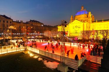 The view of Zagreb's outdoor ice skating rink. Get your iceskates on! ...and don't skate in the wrong direction