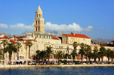 A view of Split's promenade with Cathedral of Saint Domnius' tower standing tall