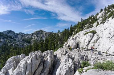 The Premužić Trail is laid out  to provide the easiest possible access to the most rugged and inaccessible sections of north Velebit