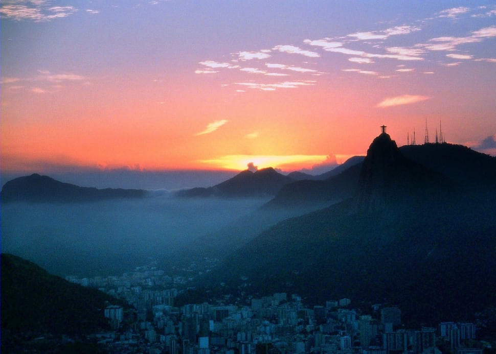 View from the Sugarloaf Mountain with Corcovado at the backdrop