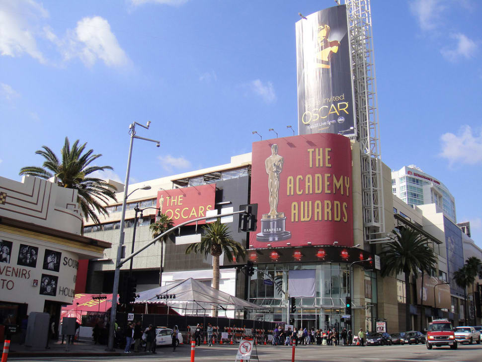 Preparing for the Annual Academy Awards, the corner of Hollywood & Highland