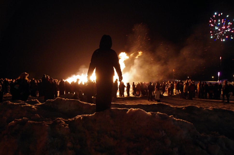 Best time to see New Year's Bonfires in Reykjavik