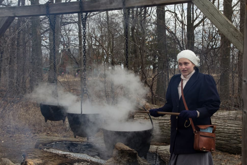 Cooking fresh maple syrup in Bronte Creek Maple Syrup Festival
