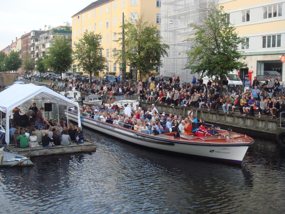 A tour boat with a jazz band on it