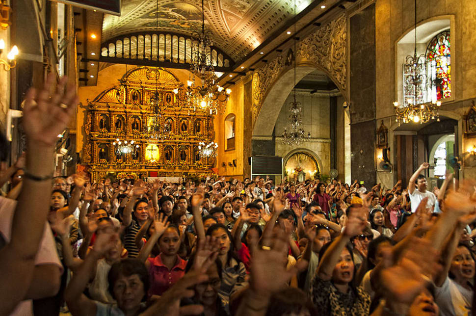 During Sinulog, overwhelming number of devotees utilize the Basilica to attend mass being held at the Pilgrim Center outside