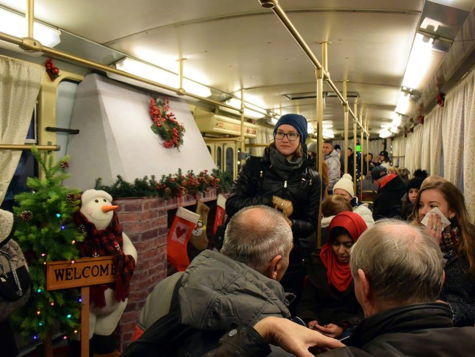 Christmas tram inside