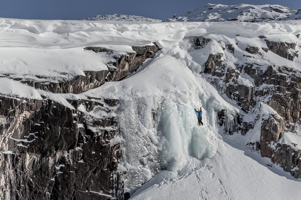 A frozen waterfall used for ice climbing near Ilulissat in Greenland