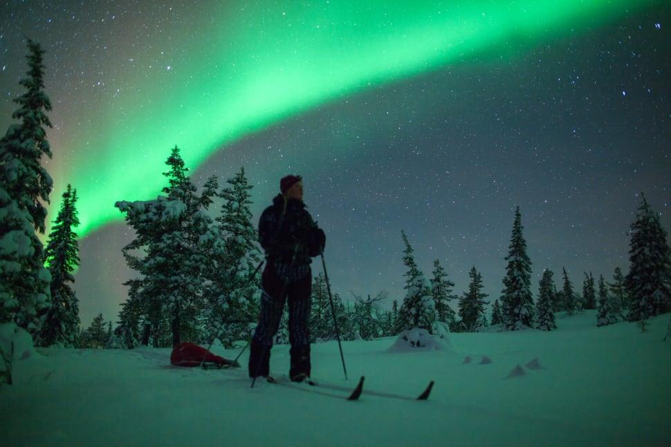 Skiing around Muonio