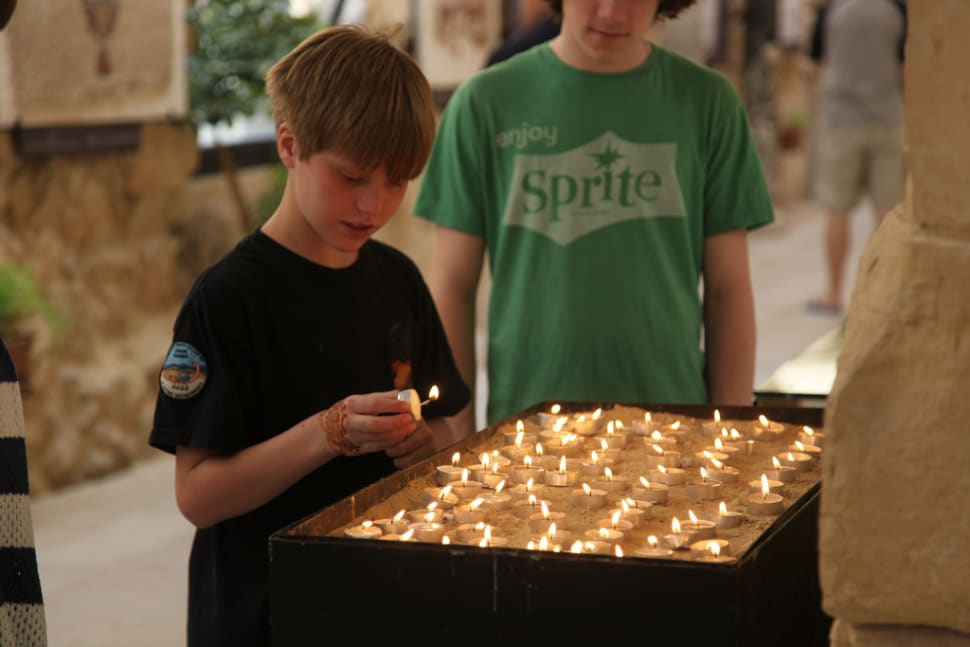 Lighting Candles at Mt Nebo