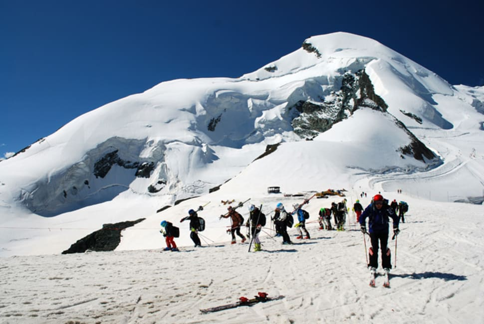 Summer skiers return to the Allalain top station