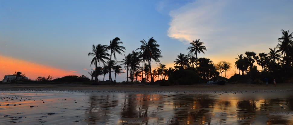 Sunset over Mandarmani beach over Bay of Bengal, West Bengal, India
