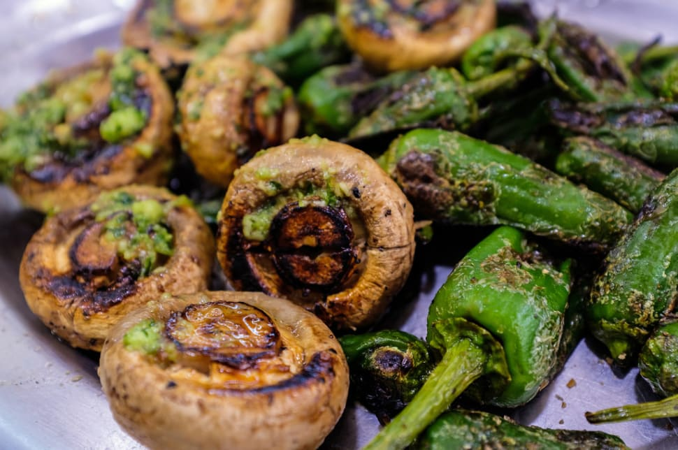 Grilled Mushrooms with Garlic and Padrón Pepper