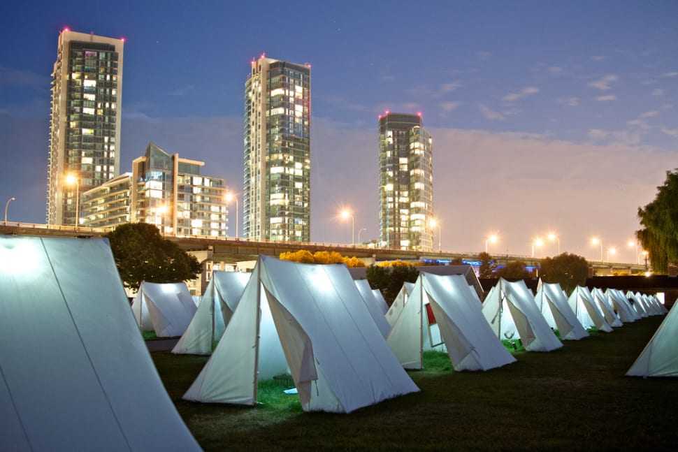 Each tent features a separate art piece