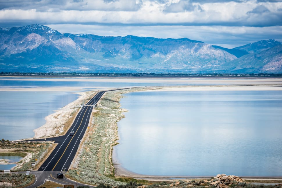 Lovely view of the road leading into Antelope Island State Park, Utah