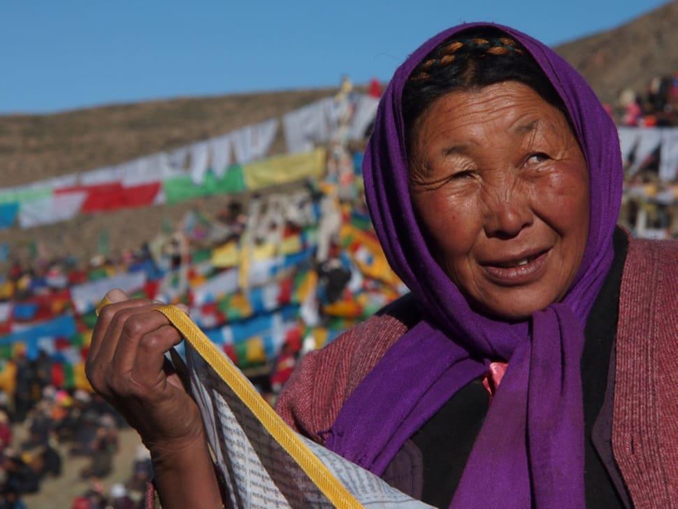 Tibetan woman at Saga Dawa Festival